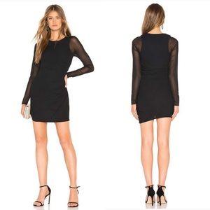 NWT NBD Sloan Mesh Sleeve Ruched Mini Dress